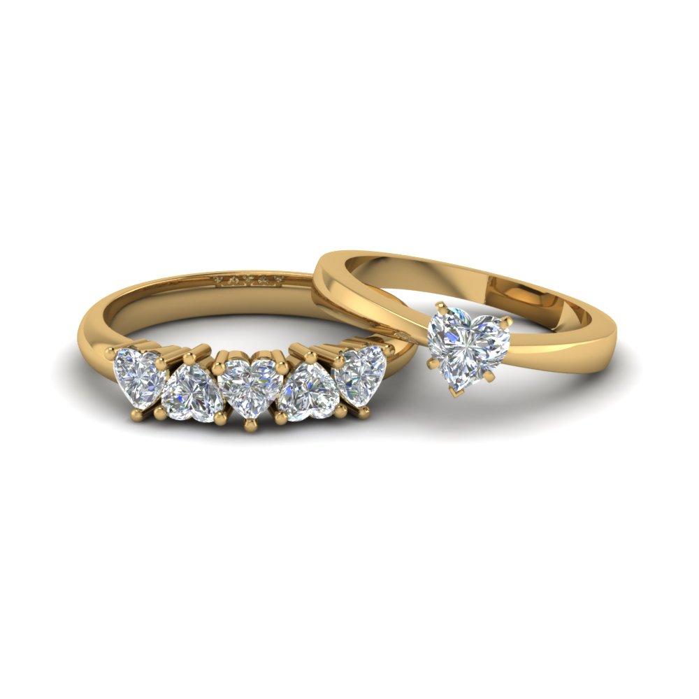 heart shaped diamond solitaire ring with matching 5 stone band in 18k yellow gold fd8212b nl - Heart Shaped Diamond Wedding Ring