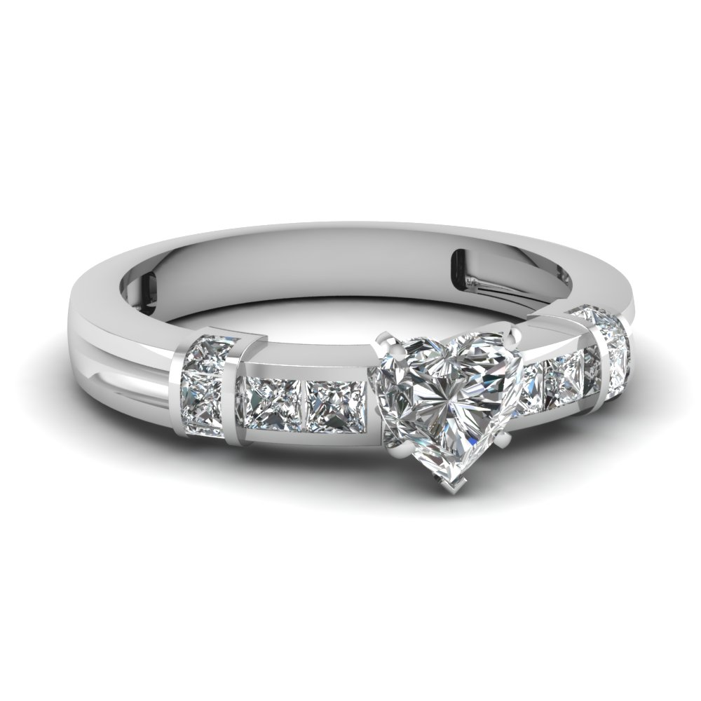 bar channel set heart diamond engagement ring in FDENR1103HTR NL WG