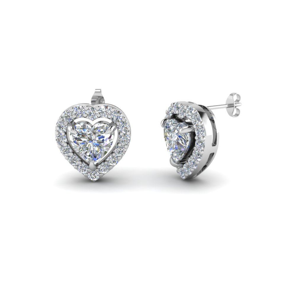 Heart Shaped Diamond Stud Earrings In 14k White Gold Fdear1186ht Nl Wg