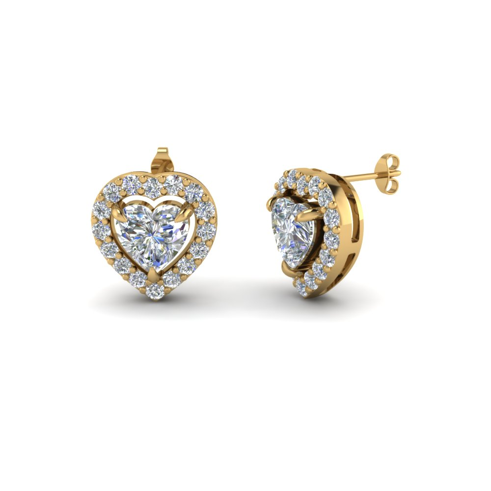 Heart Shaped Diamond Stud Earrings In 14k Yellow Gold Fdear1186ht Nl Yg