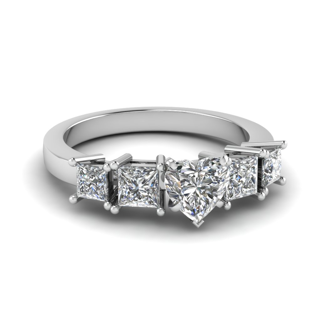 basket heart shaped 5 stone engagement ring in FDENR1012HTR NL WG