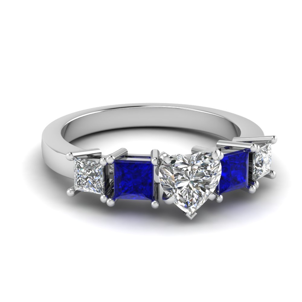 basket heart shaped 5 stone engagement ring with sapphire in FDENR1012HTRGSABL NL WG