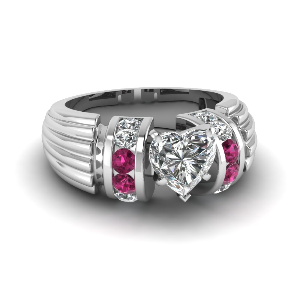 Big Pink Sapphire Engagement Ring