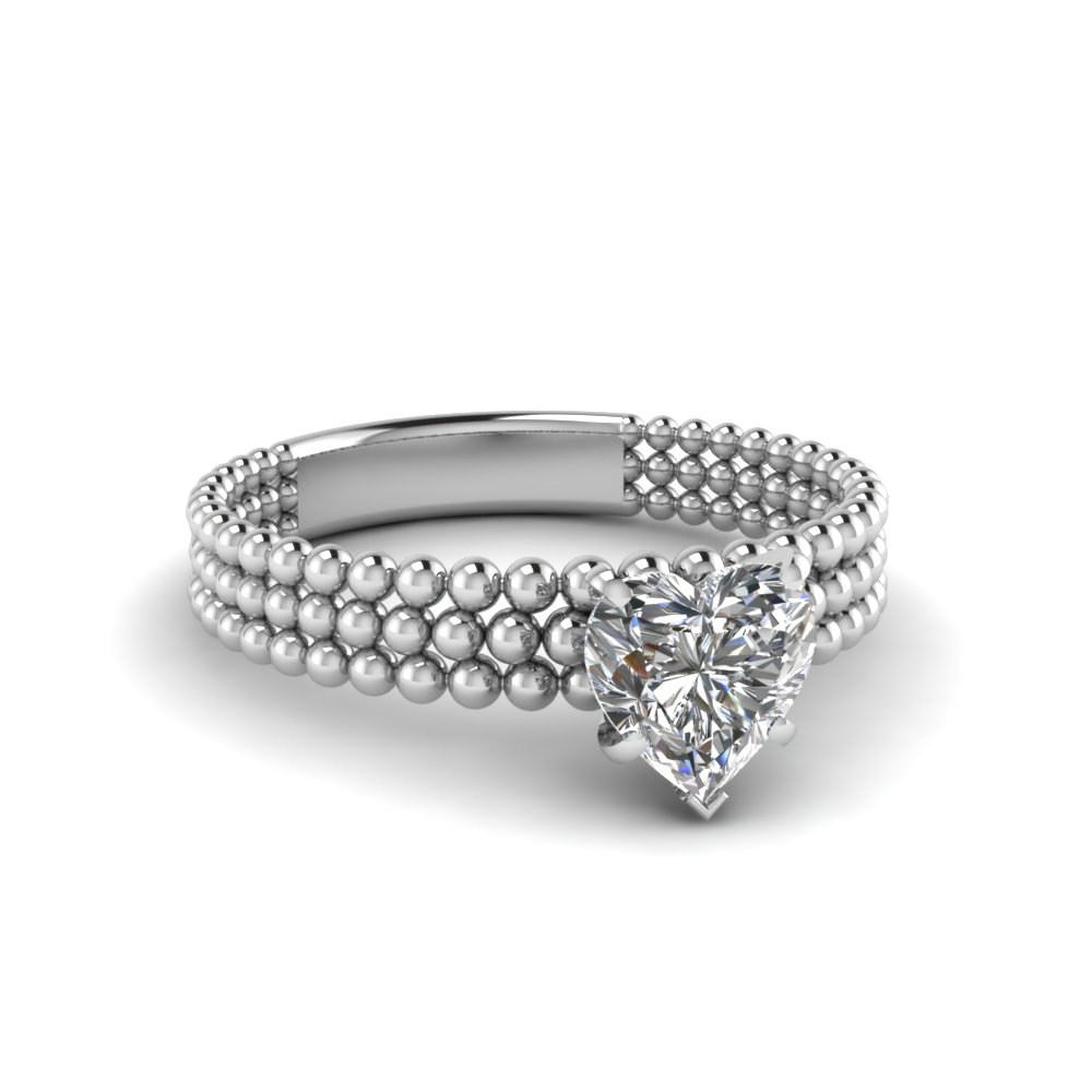 Heart Shaped Diamond Tri Row Bead Solitaire Ring In 950 Platinum