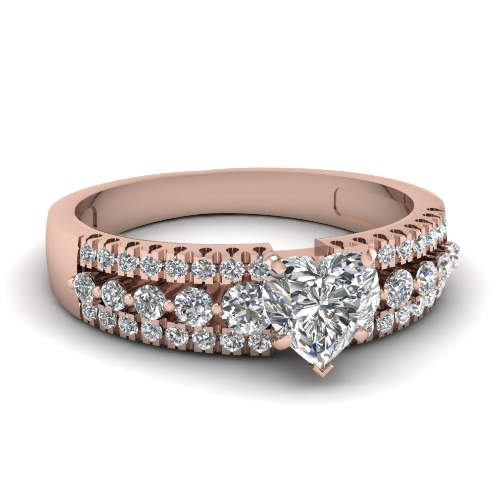 Rose Gold Heart Diamond Rings