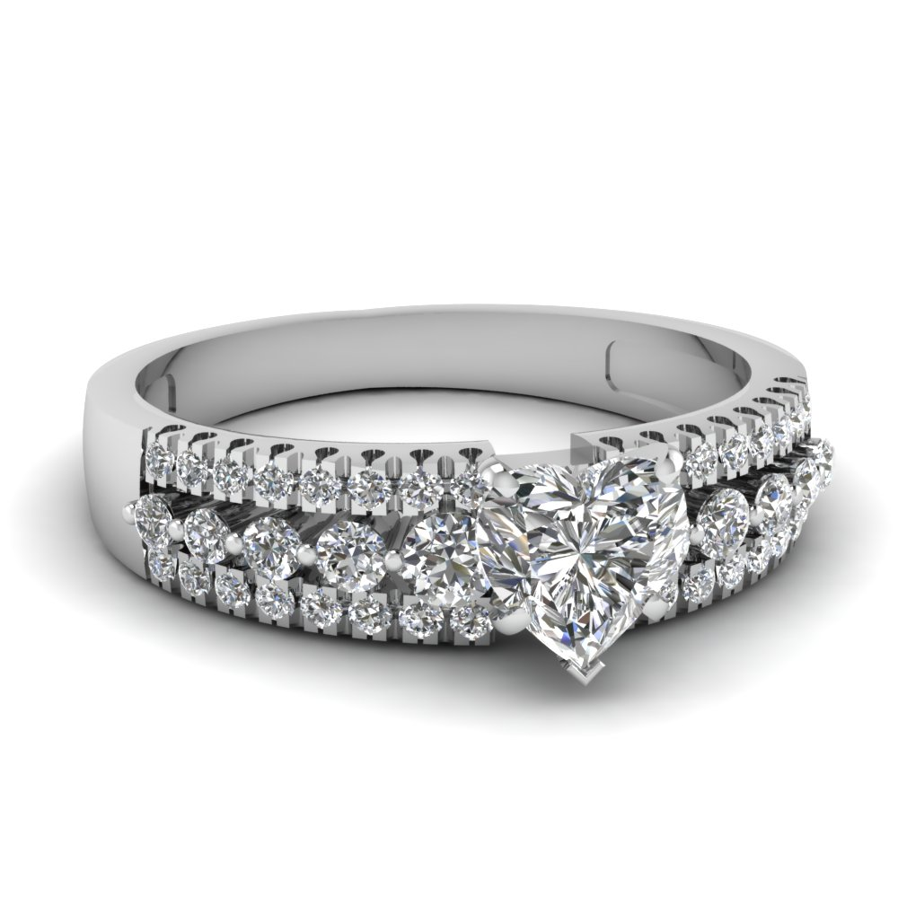 3/4 Carat Heart Cut Wedding Rings