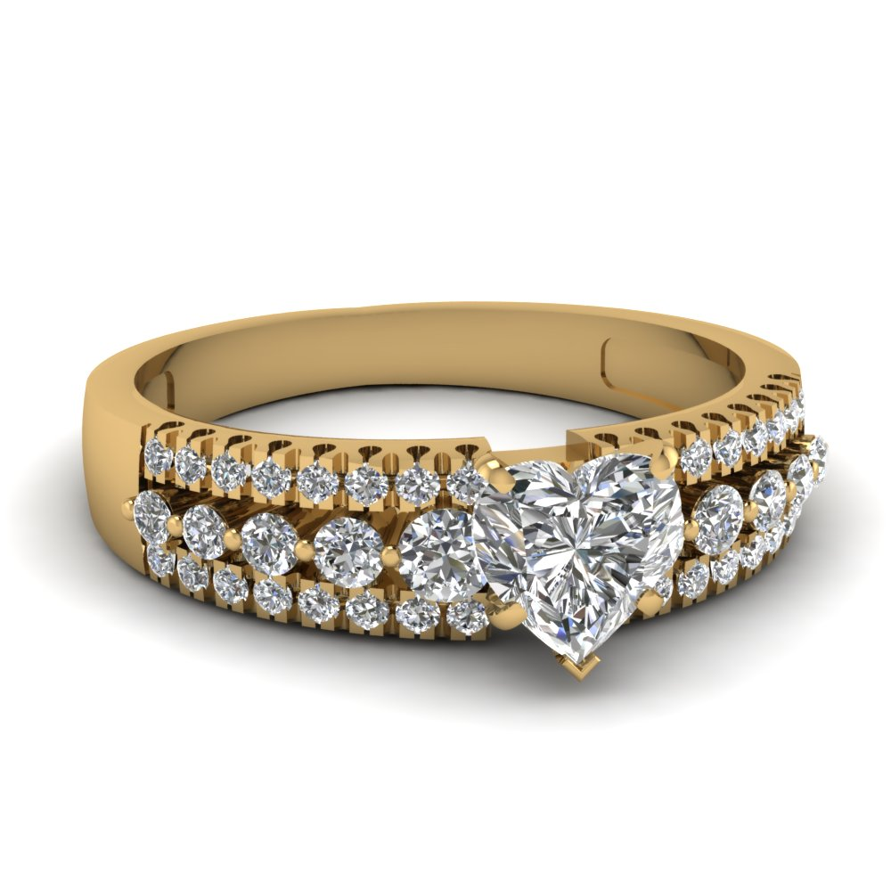 Yellow Gold Heart Shaped Diamond Ring