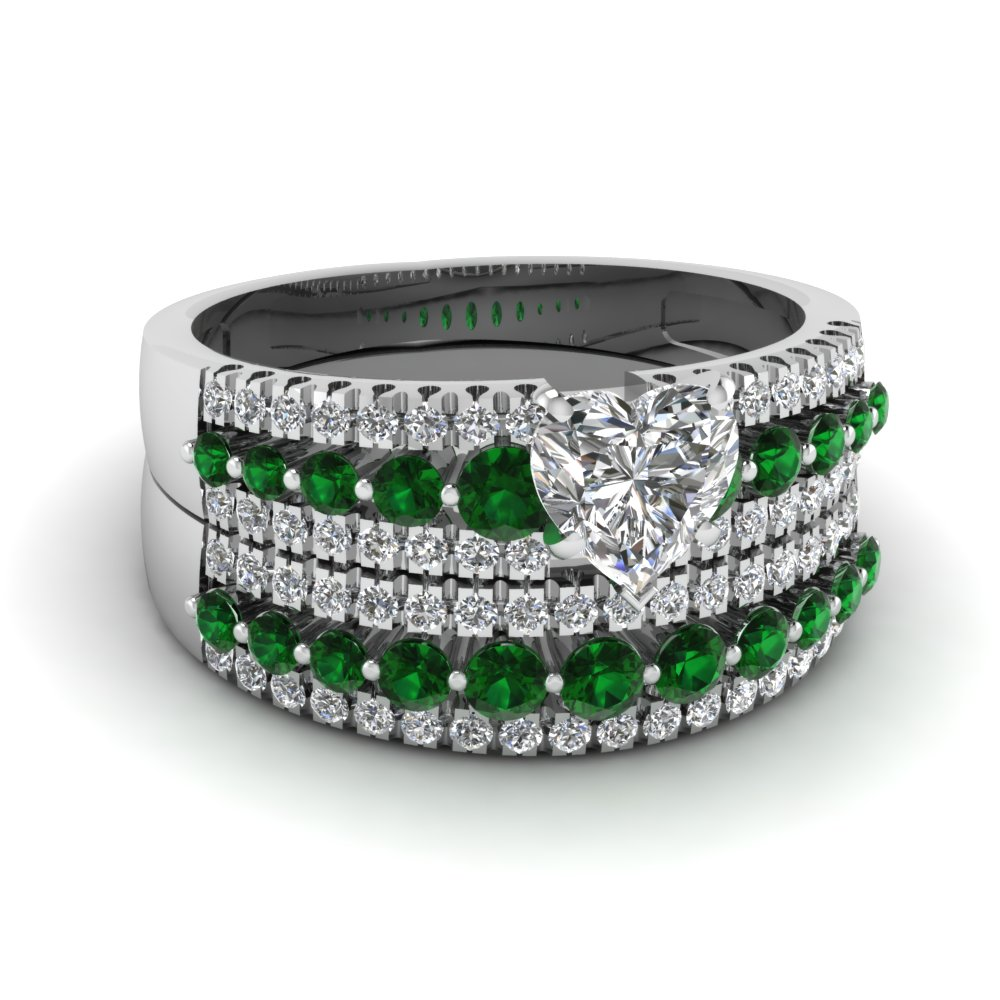 triple row heart diamond wedding ring set with emerald in FDENS3014HTGEMGR NL WG