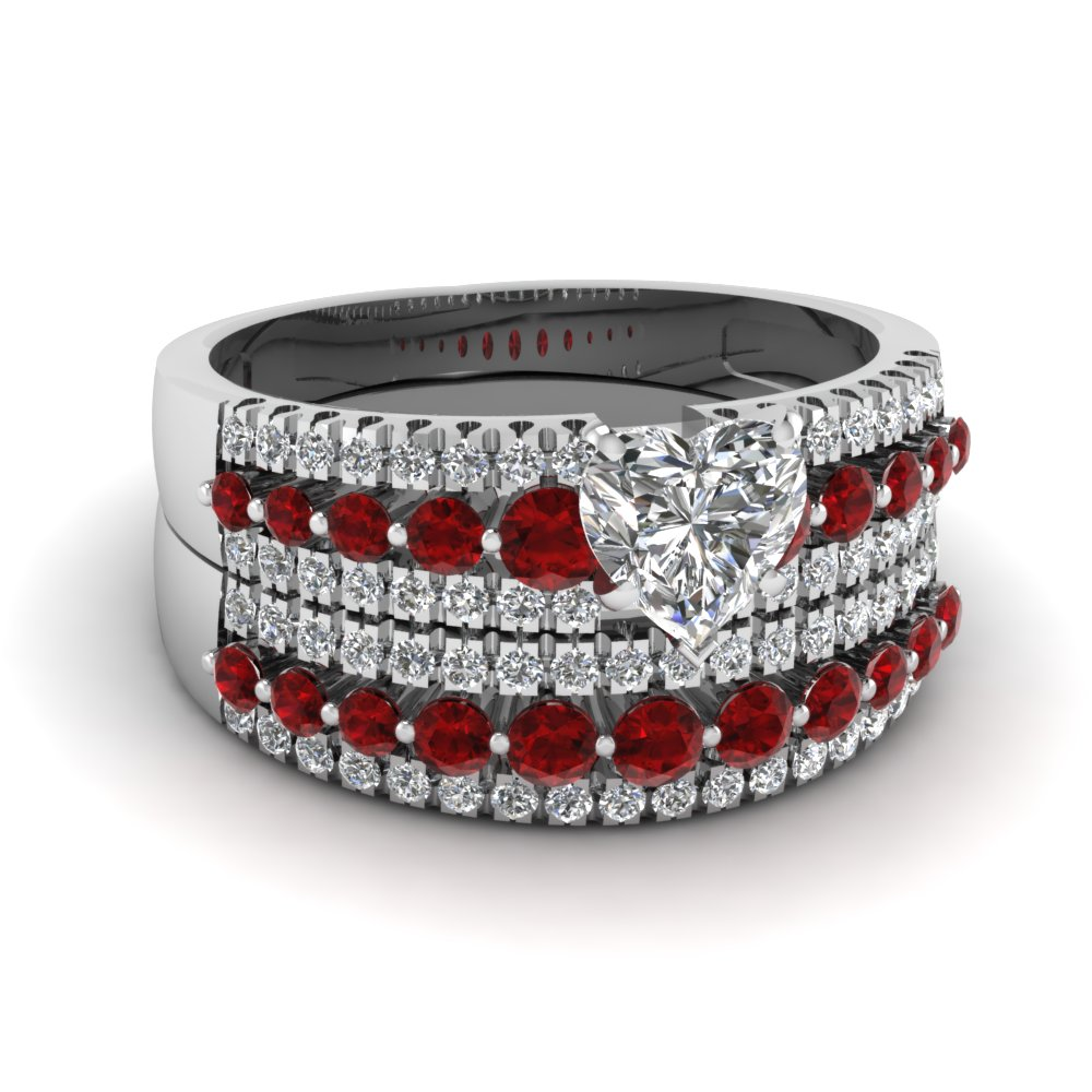 Heart Shaped Diamond Triple Row Wedding Ring Sets With Red Ruby In