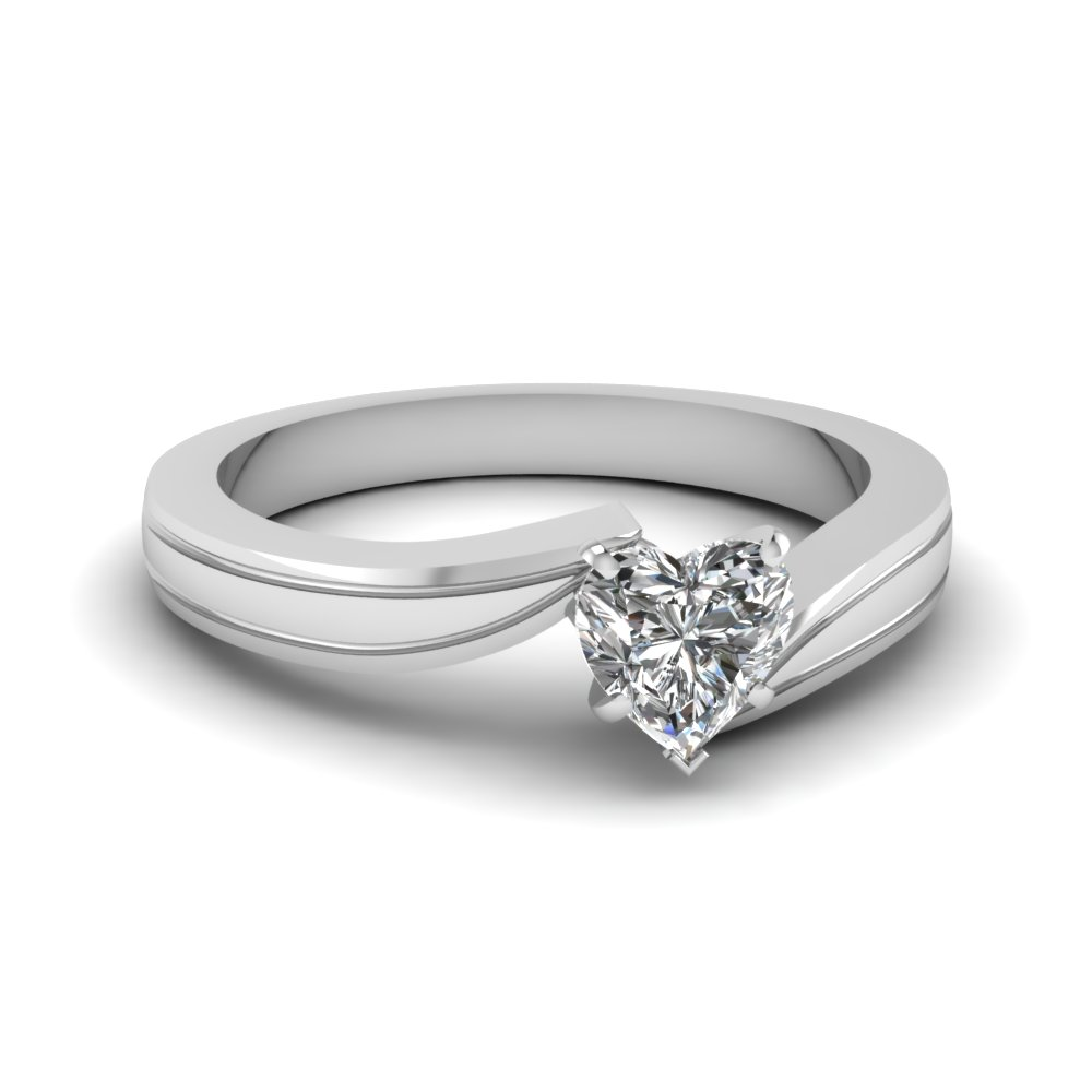 Twirl Heart Shaped Solitaire Rings