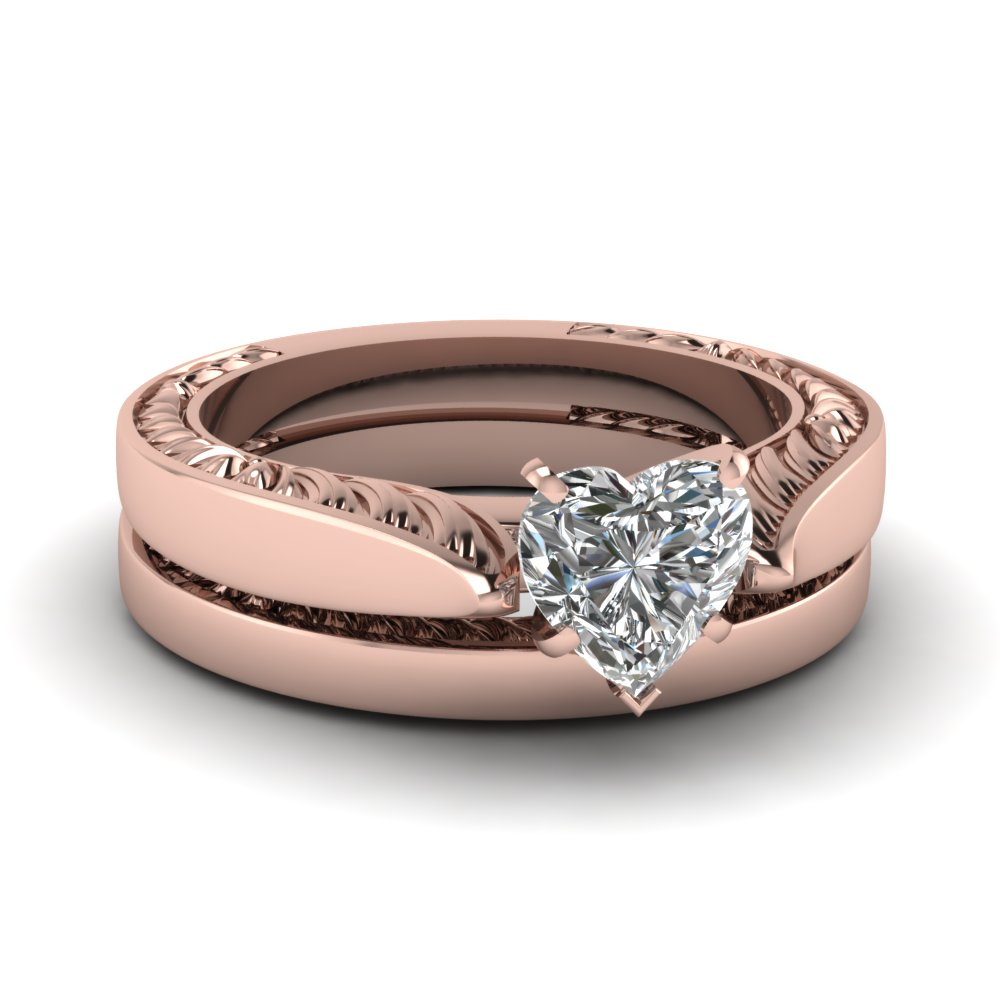 heart shaped diamond wedding ring set in 14k - Rose Gold Wedding Ring Set