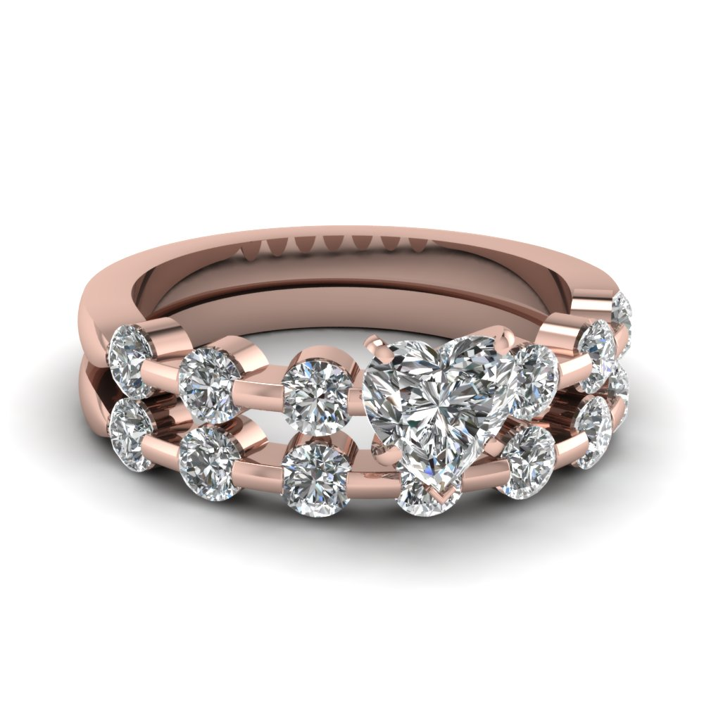 heart shaped diamond wedding ring set in 14k - Heart Wedding Ring Set