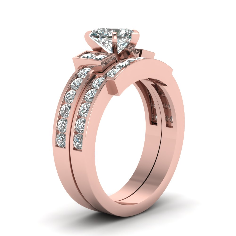 Heart Shaped Diamond Wedding Ring Set In 14K Rose Gold | Fascinating ...