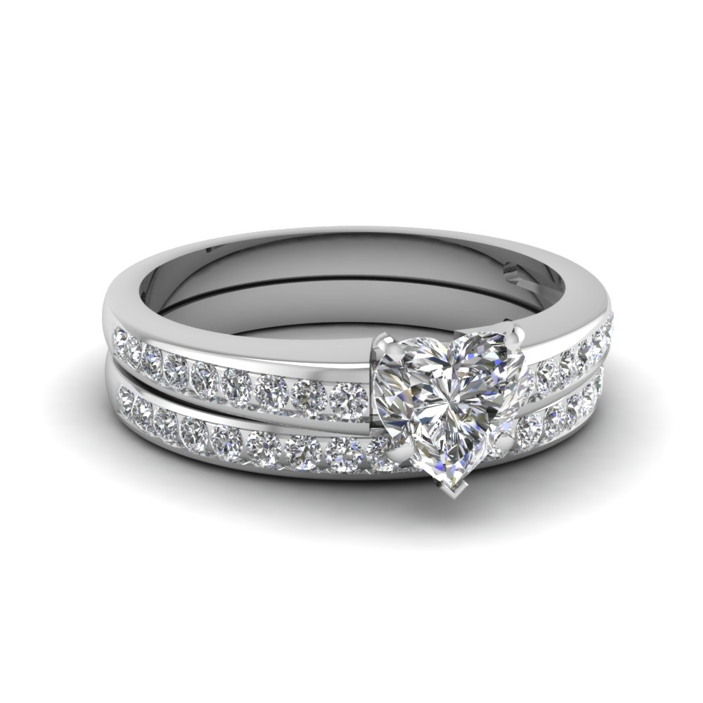 Heart Shaped Diamond Wedding Ring Sets With White Diamond In 14k White Gold