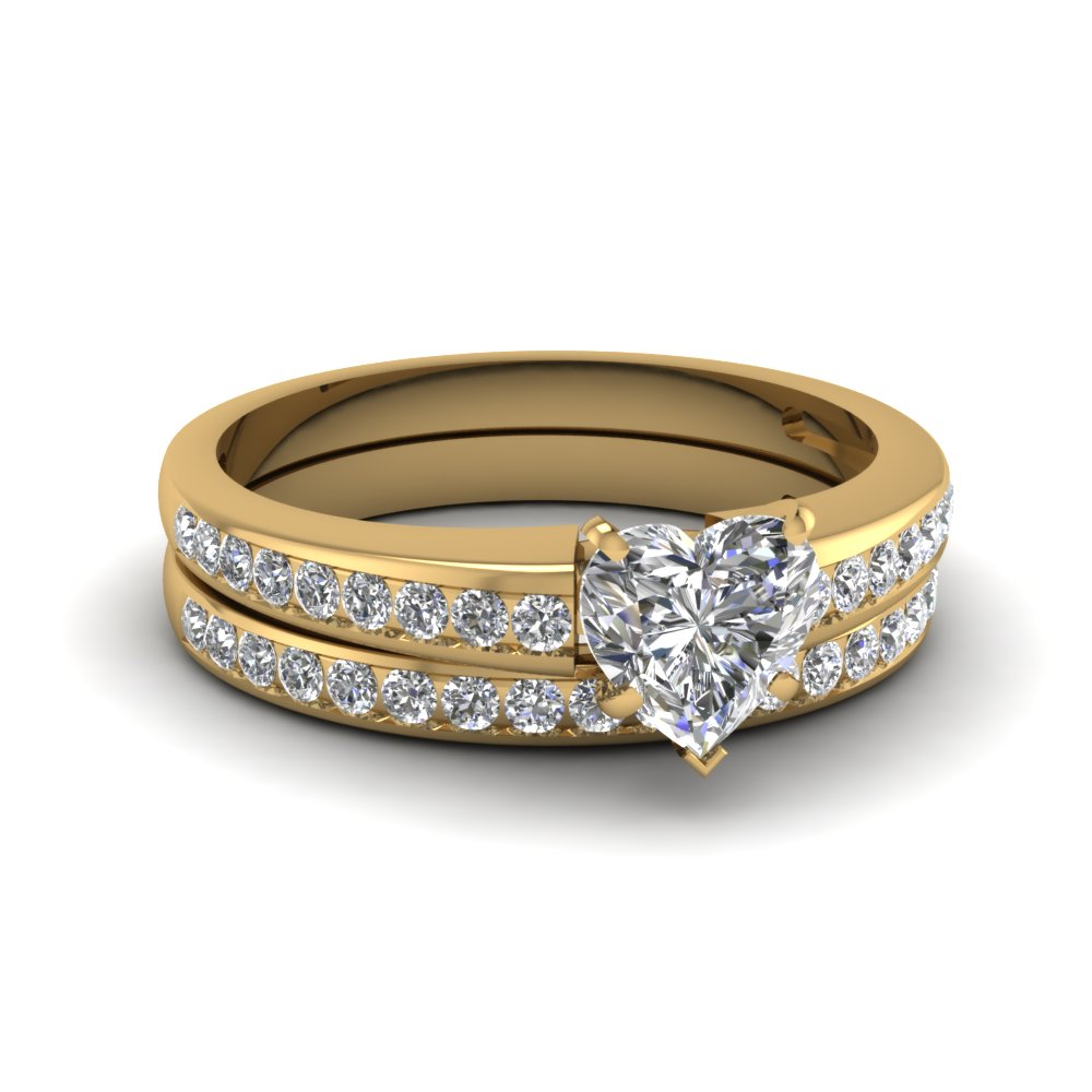 heart channel diamond wedding set in 14k yellow gold