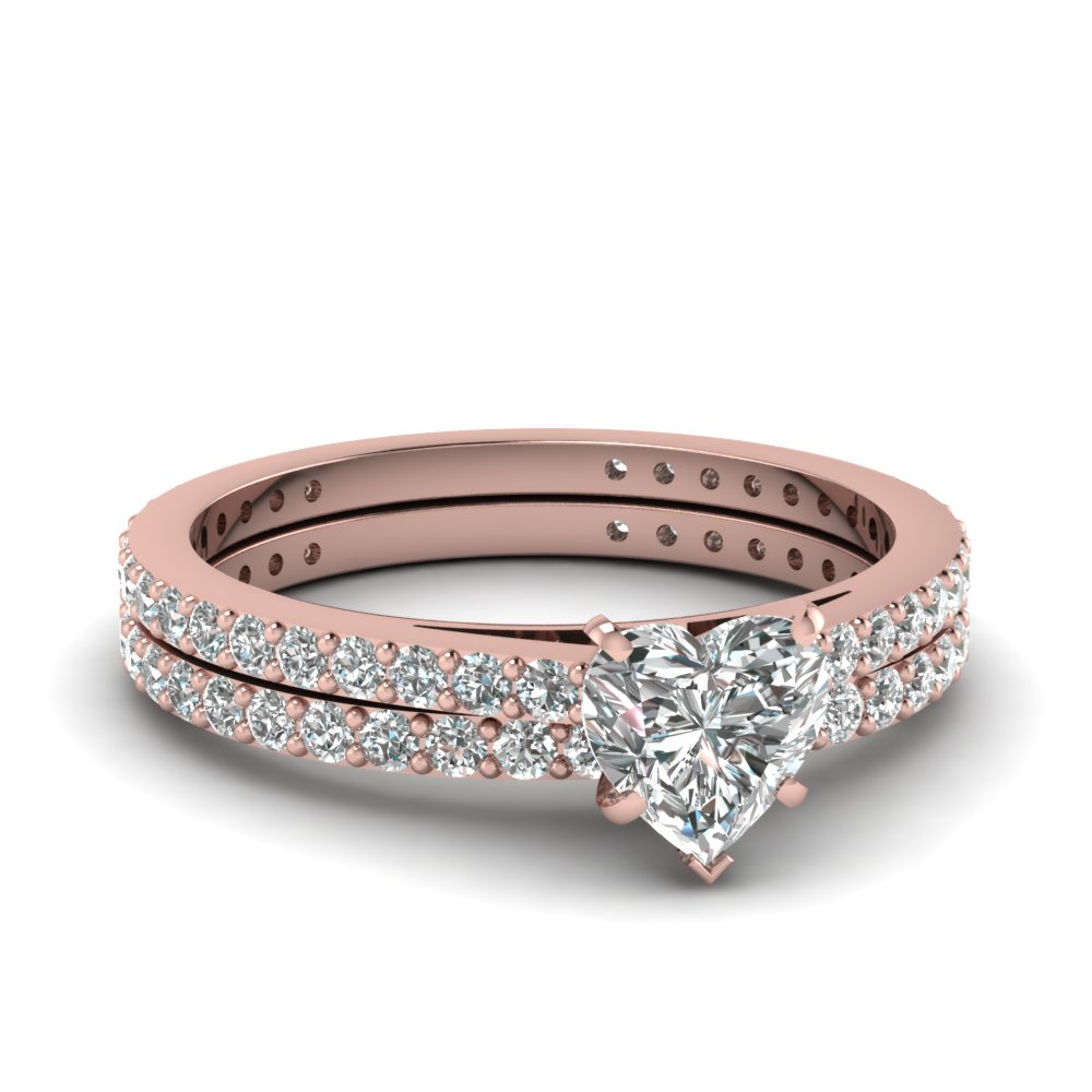 18k rose gold white diamond wedding sets engagement rings