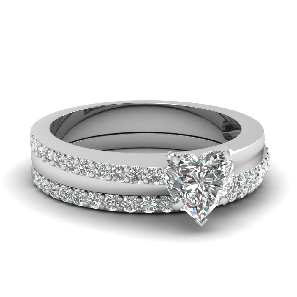 Heart Shaped Diamond Wedding Ring Set In 950 Platinum Fascinating Diamonds