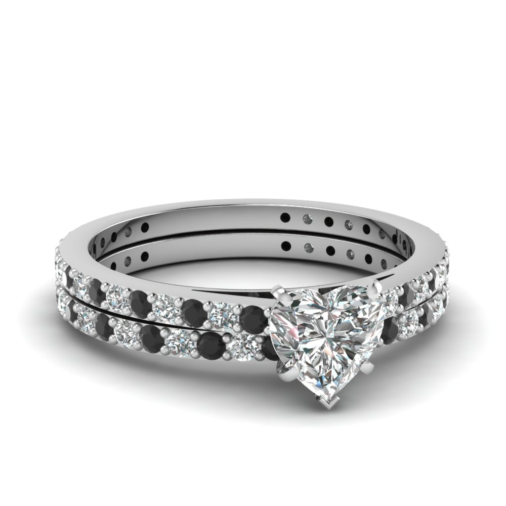 heart shaped diamond wedding ring set with black diamond in 14k