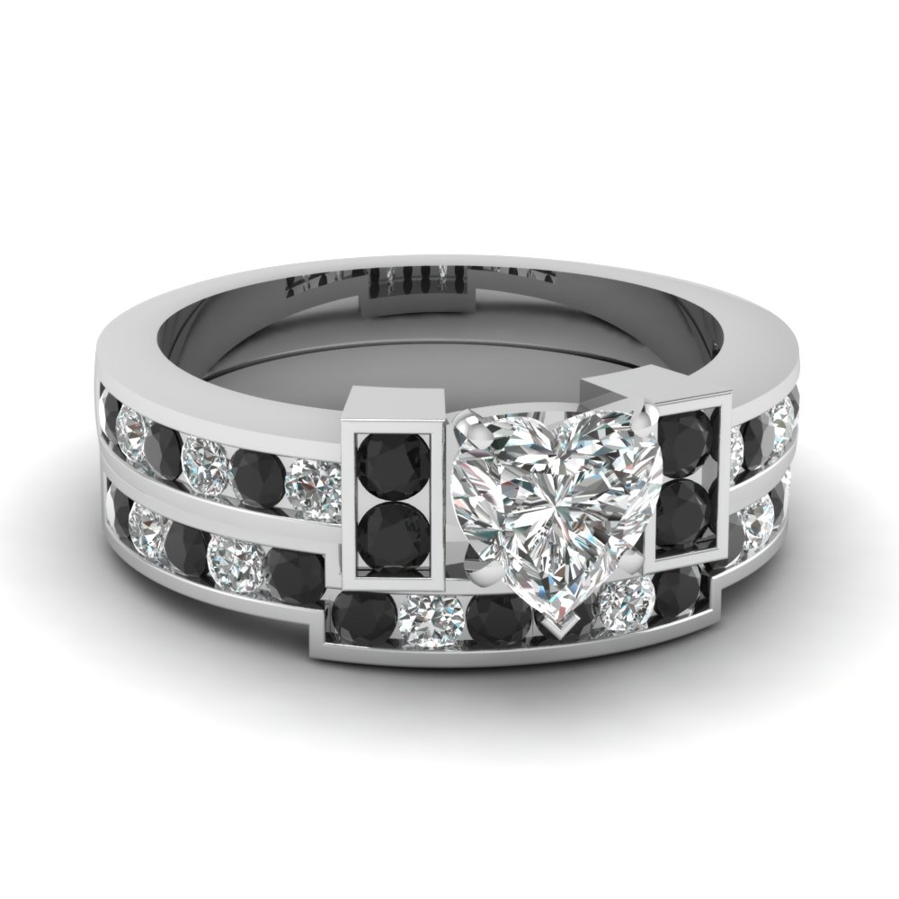 Bar Set Heart Black Diamond Wedding Ring Set