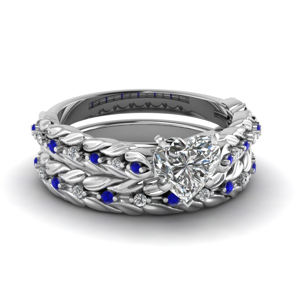Nature Inspired Heart Diamond Wedding Ring Set