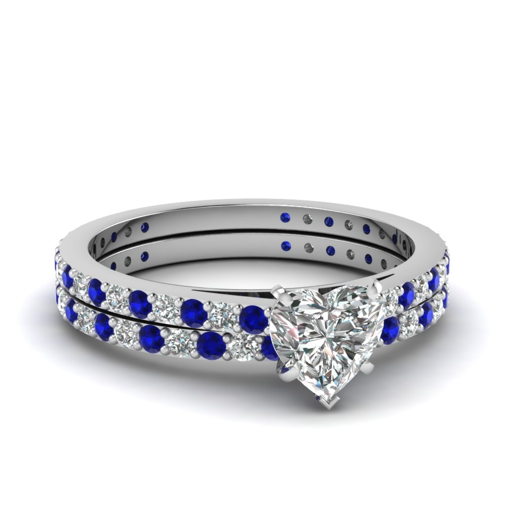 Heart Shaped Petite Diamond Wedding Ring Set With Sapphire In 14K