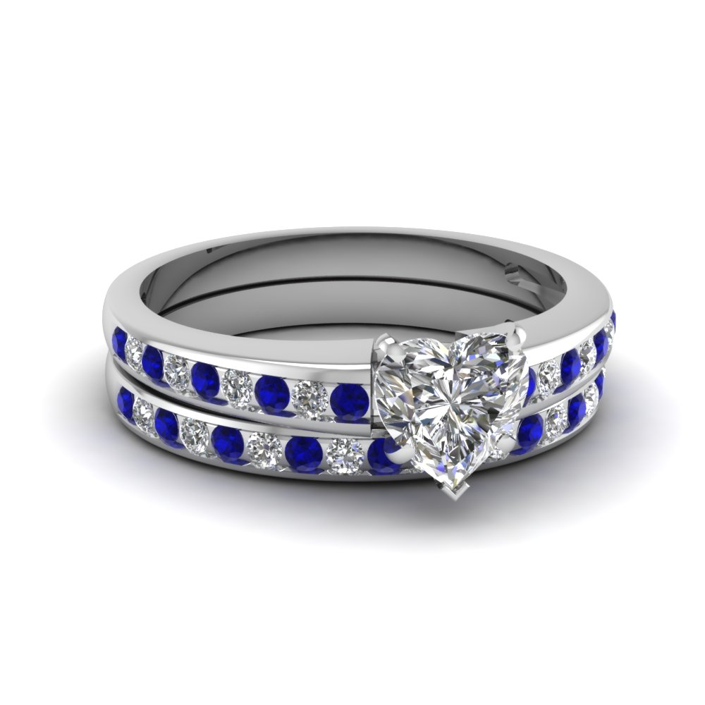 Heart Channel Diamond Wedding Set With Sapphire In 14k White Gold