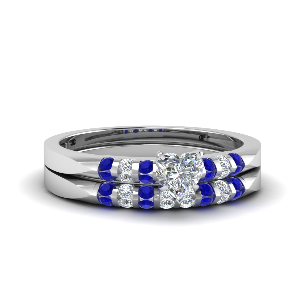 Heart shaped diamond wedding ring set with blue sapphire for Blue sapphire wedding ring set