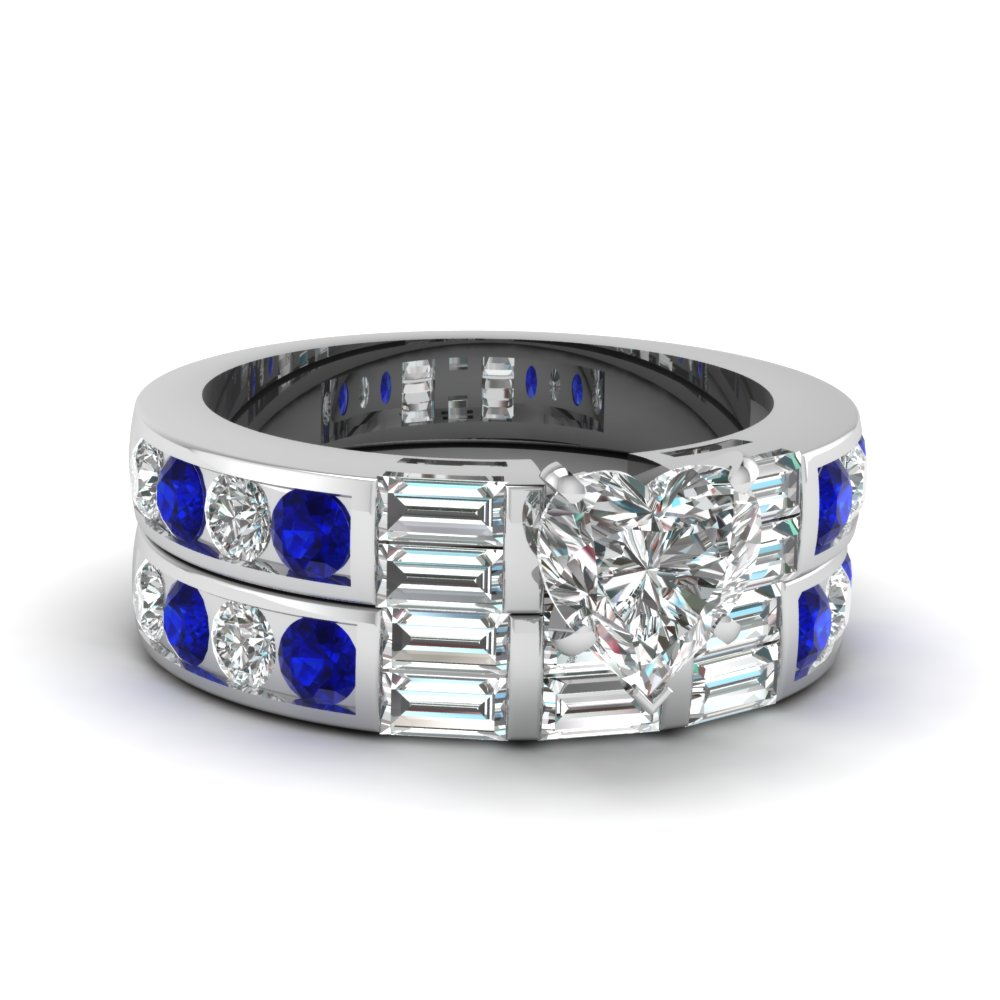 channel baguette bar heart diamond wedding ring set with sapphire in FDENS382HTGSABL NL WG