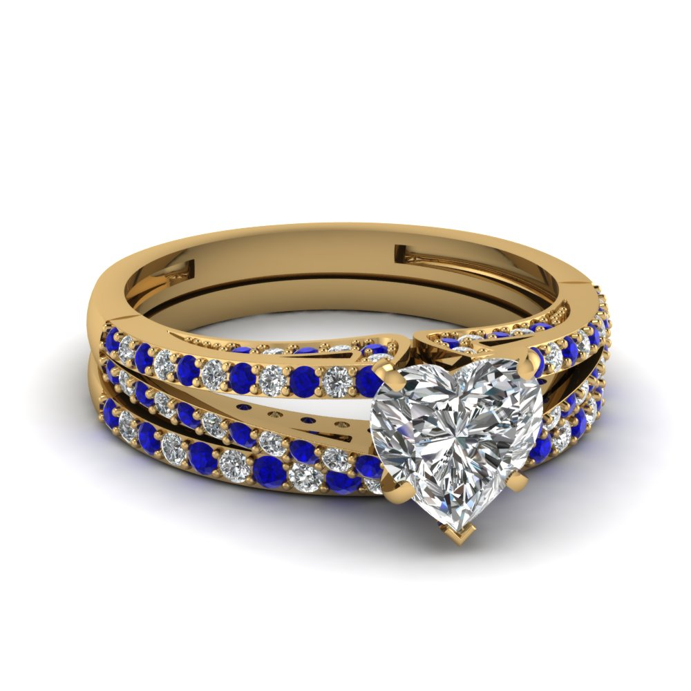 18K Yellow Gold Heart Shaped Blue Sapphire Wedding Sets Engagement
