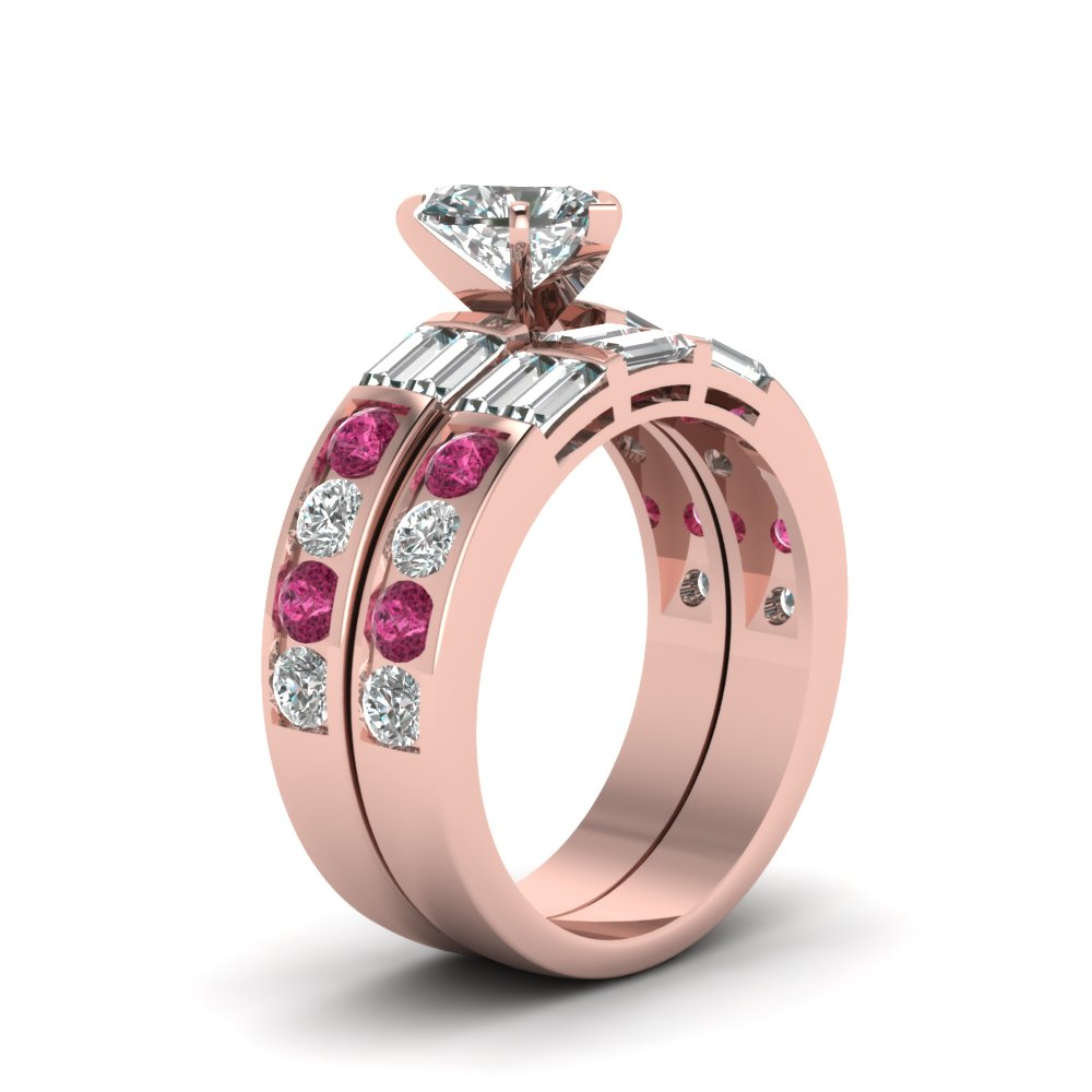 Channel Baguette Bar Heart Diamond Wedding Ring Set With Pink ...