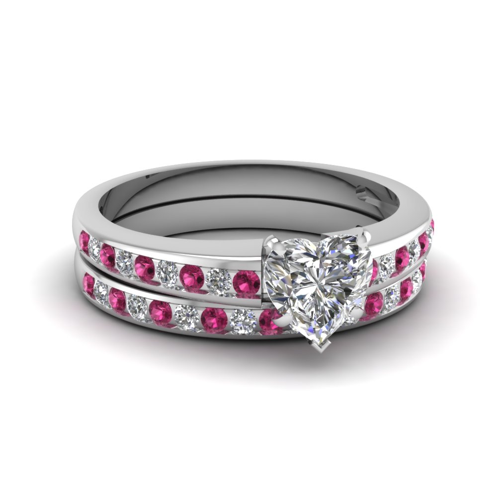 heart shaped diamond wedding ring sets with pink sapphire in 14k white gold