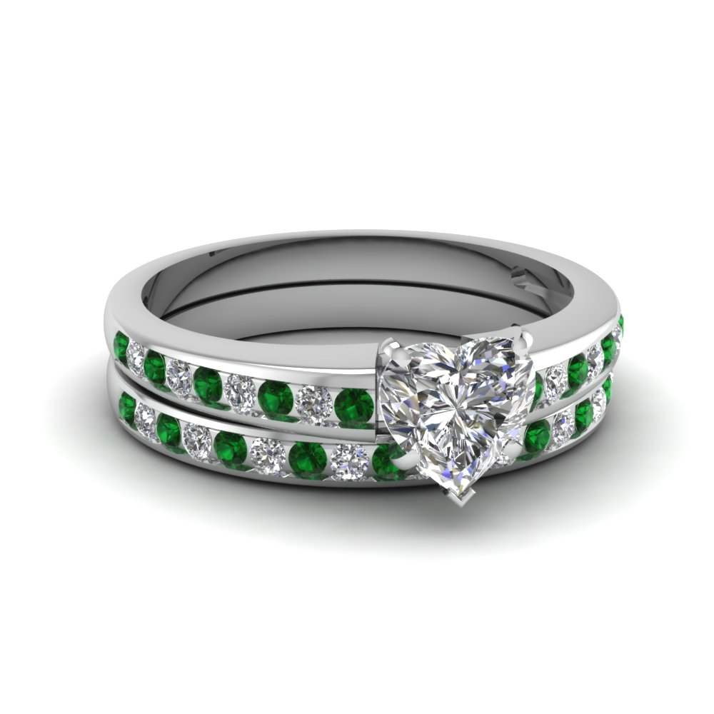 Heart Channel Diamond With Emerald Wedding Set In Fdens3018htgemgr Nl Wg