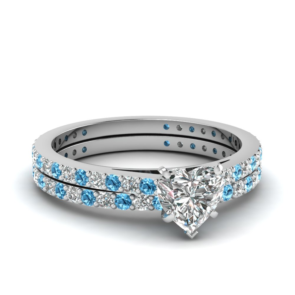 Heart Shaped Petite Diamond Wedding Ring Set With Blue Topaz In  FDENS1425HTGICBLTO NL WG