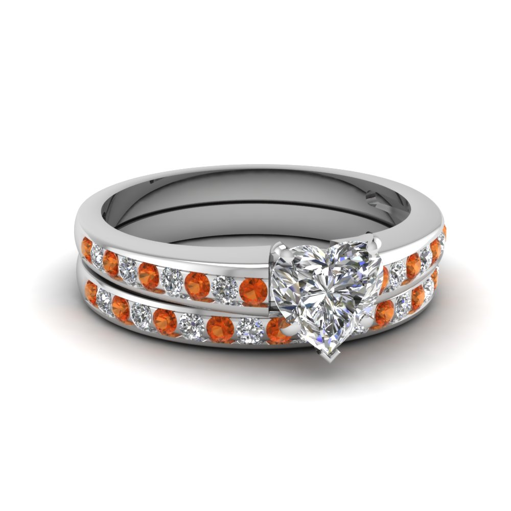 Heart Shaped Orange Sapphire Wedding Set