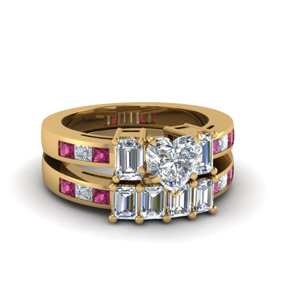 Modern Heart Shaped Diamond and Saphhire Channel Wedding Sets