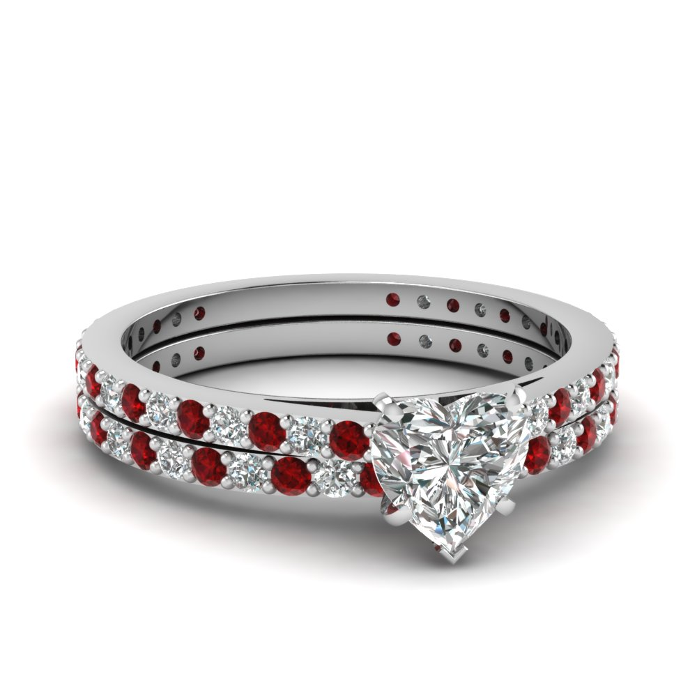 classic delicate heart shaped diamond wedding ring set with ruby in FDENS1425HTGRUDR NL WG