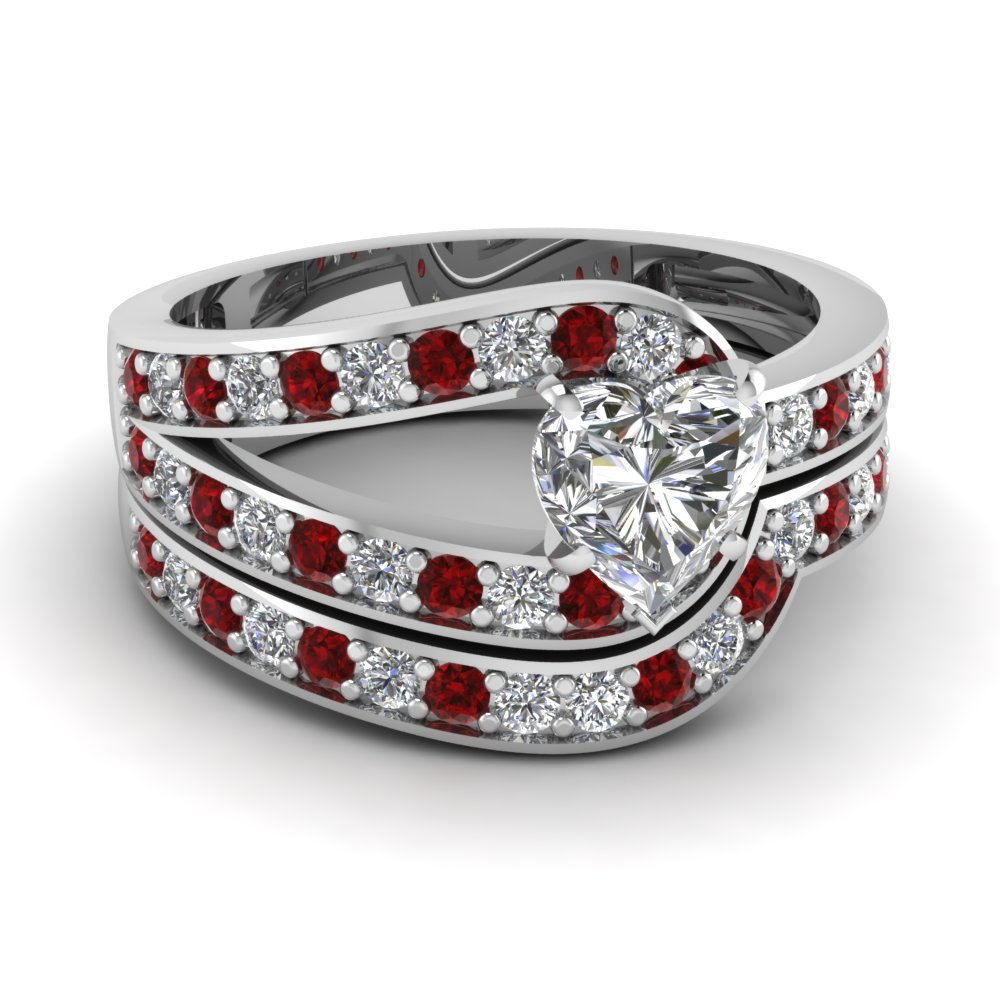 heart shaped diamond wedding ring set with red ruby in 14k