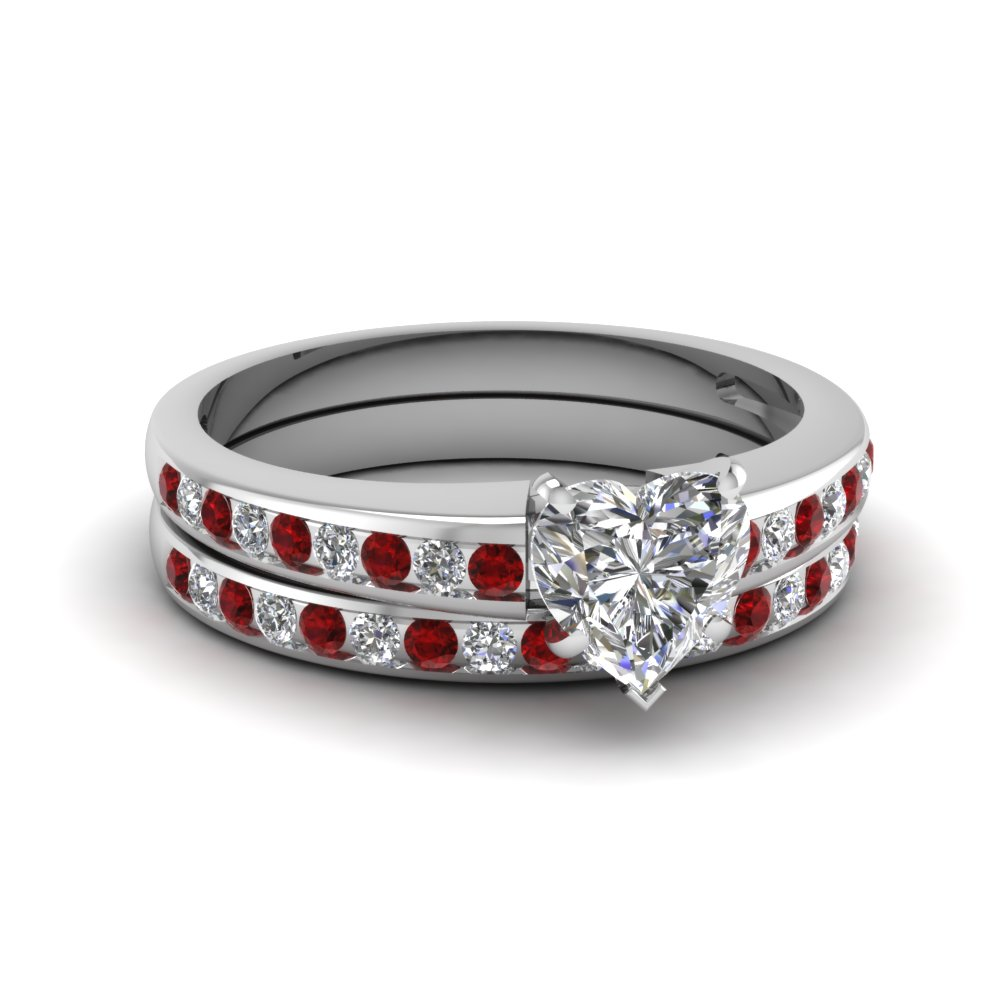 Heart Channel Diamond With Ruby Wedding Set In 14K White Gold