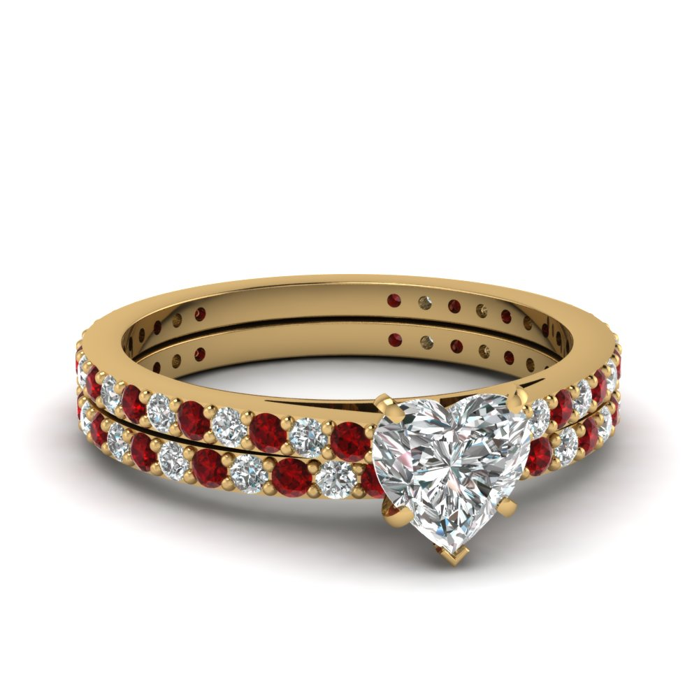 classic delicate heart shaped diamond wedding ring set with ruby in FDENS1425HTGRUDR NL YG