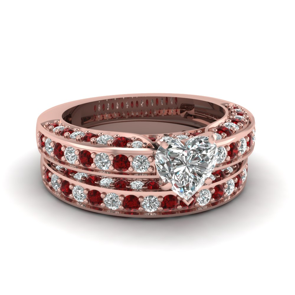 Pave Heart Diamond Ruby Wedding Ring Set