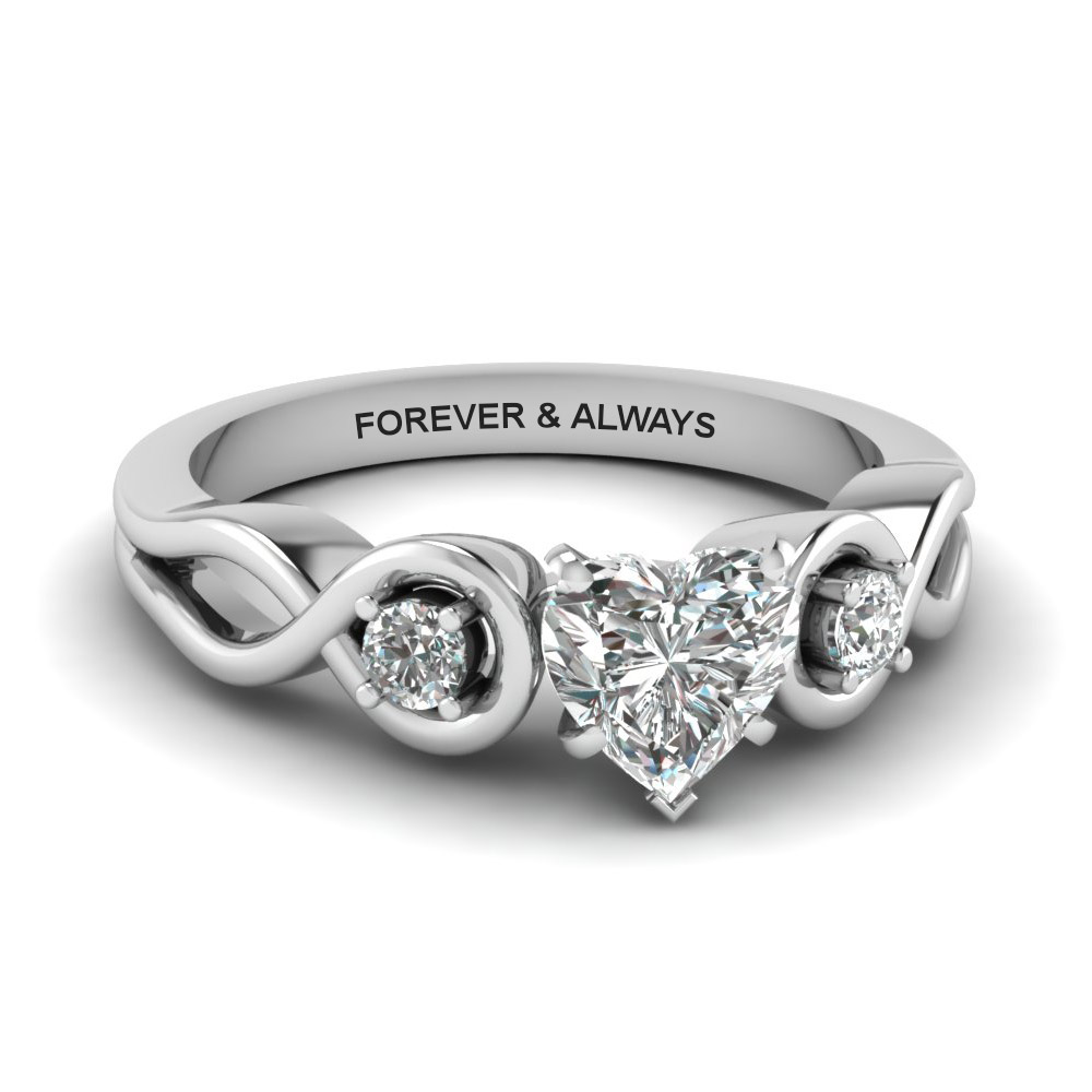 6cf2f2efde988 Engraved Three Stone Heart Diamond Engagement Ring In 18K White Gold ...