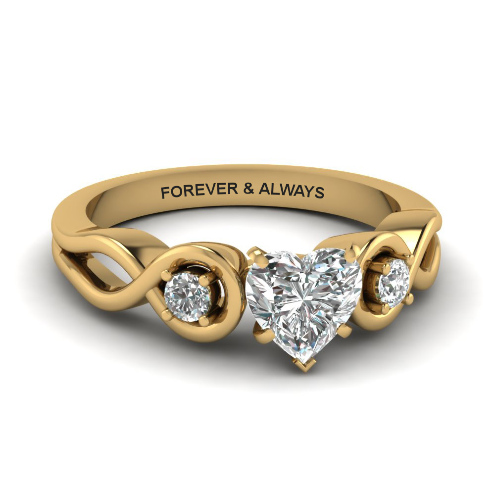 Heart Shaped Engraved Three Stone Ring
