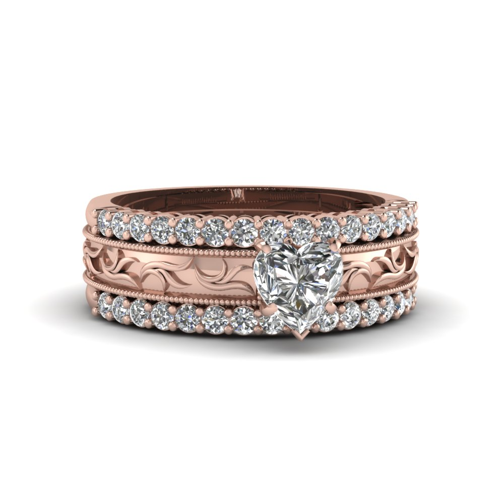 Milgrain Bordered Embossed Rose Gold Heart Diamond Trio Wedding Ring Set