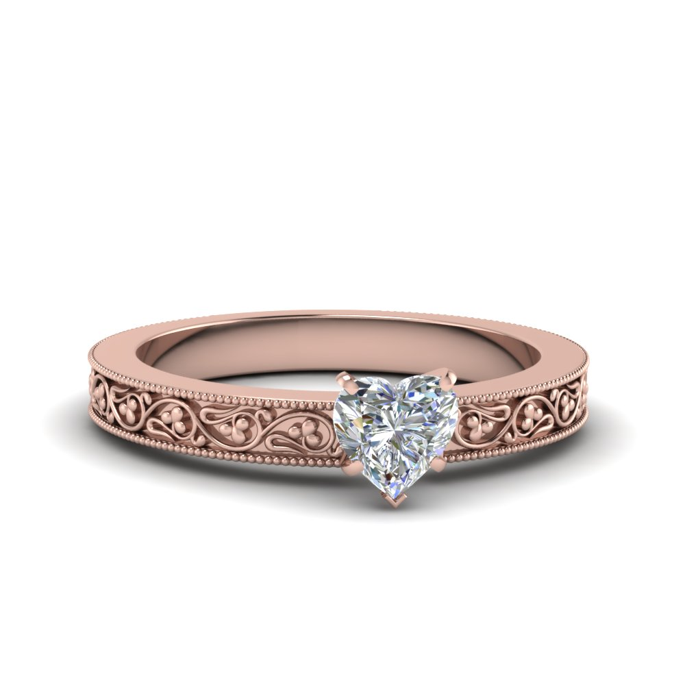 heart shaped filigree solitaire diamond engagement ring for women in 14K rose gold FDENS3627HTR NL RG