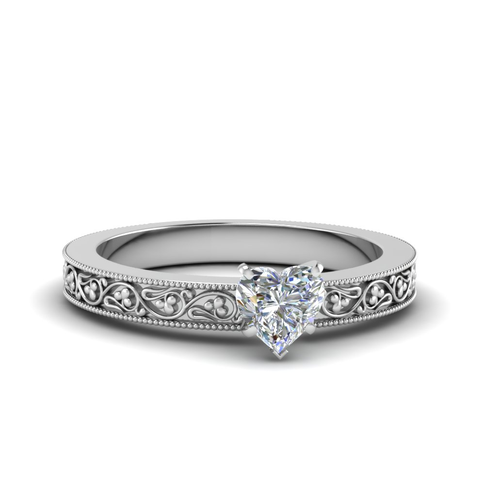 heart shaped filigree solitaire diamond engagement ring for women in 14K white gold FDENS3627HTR NL WG