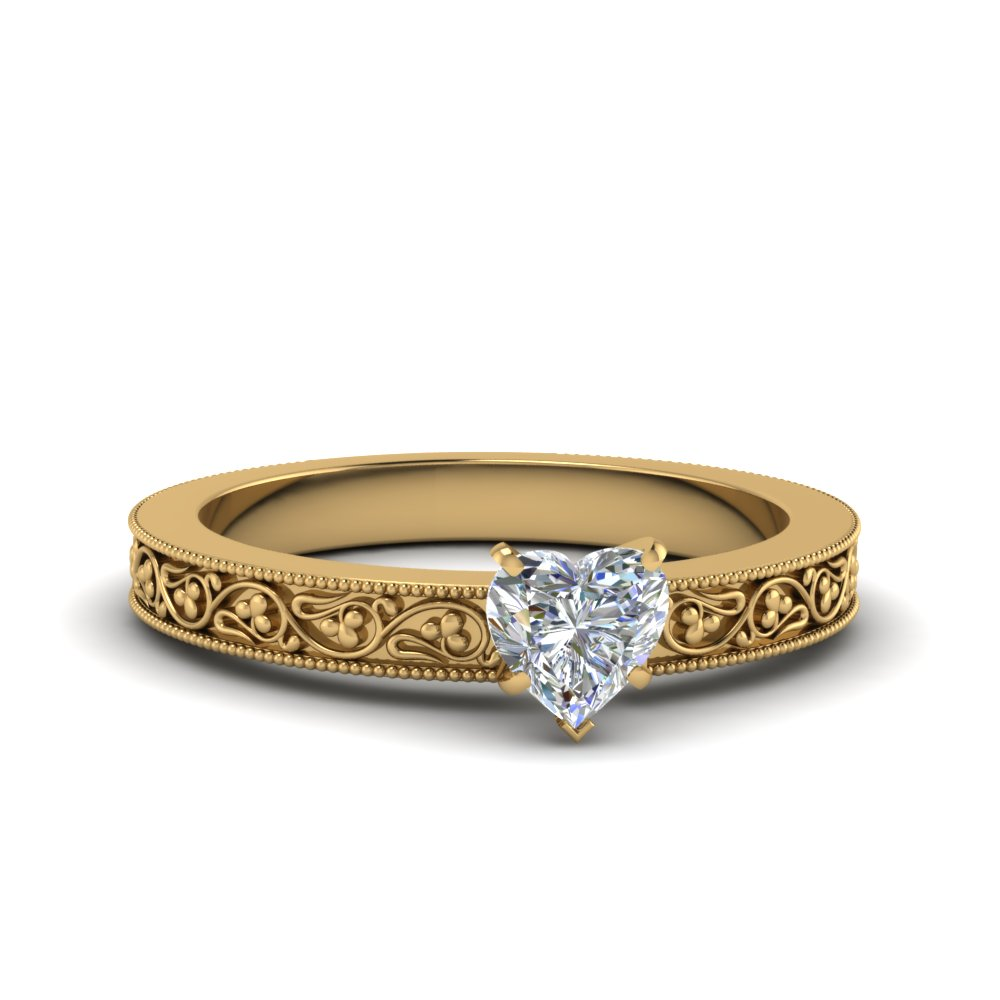 heart shaped filigree solitaire diamond engagement ring for women in 14K yellow gold FDENS3627HTR NL YG