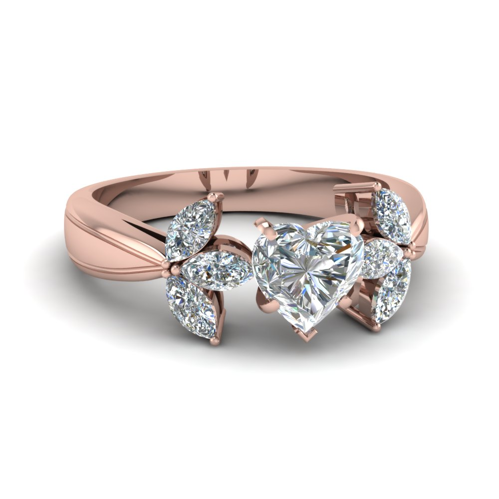 Heart Shaped Floral Marquise Diamond Accents Engagement Ring In 14K Rose Gold