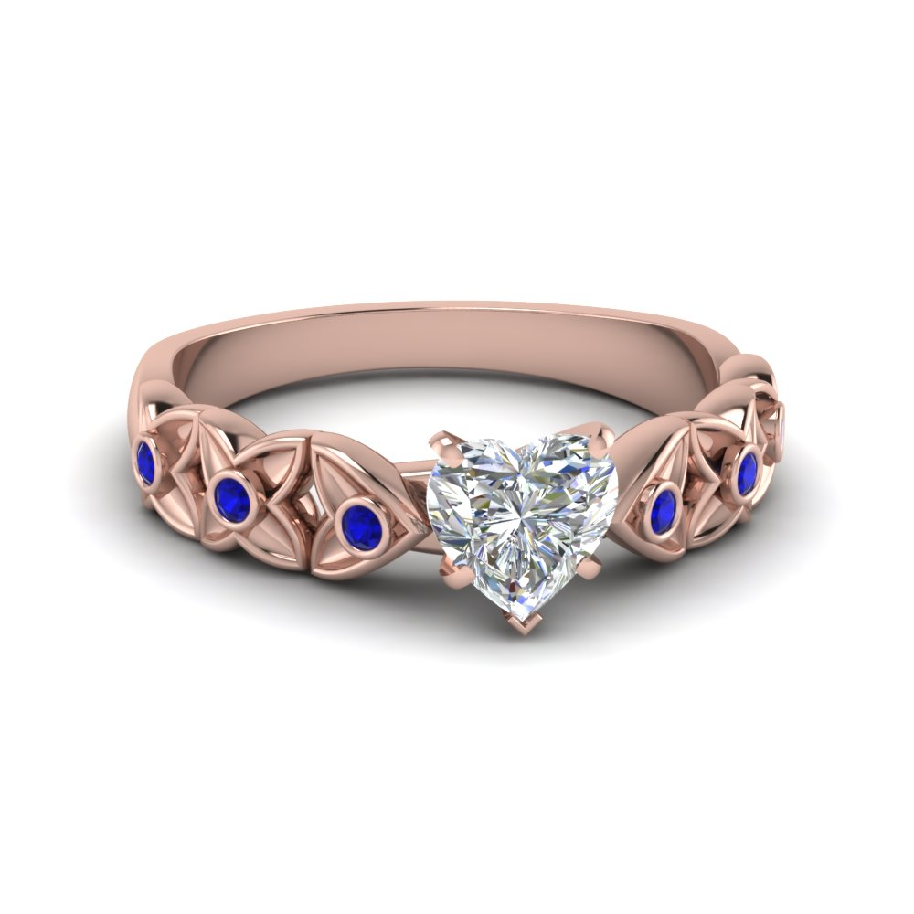 heart shaped floral style accent diamond engagement ring with blue sapphire in 14K rose gold FD121955HTRGSABL NL RG