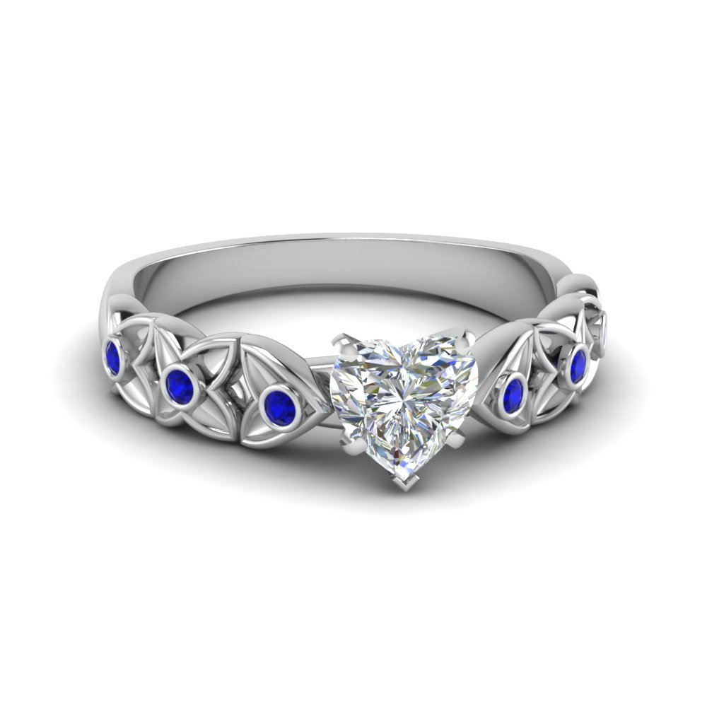 heart shaped floral style accent diamond engagement ring with blue sapphire in 18K white gold FD121955HTRGSABL NL WG
