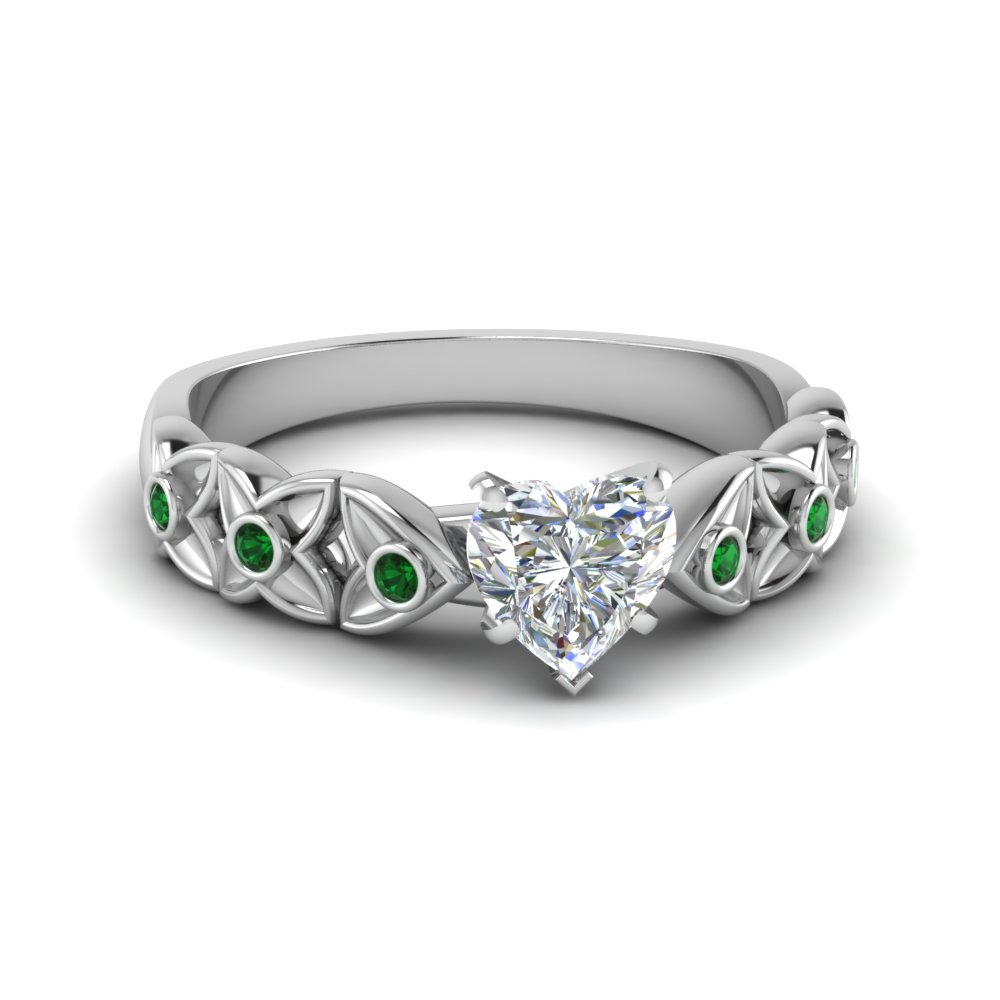 heart shaped diamond floral accent emerald engagement ring in FD121955HTRGEMGR NL WG